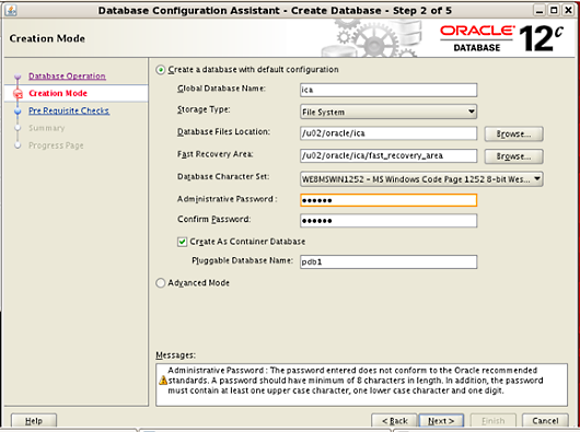 Oracle database details