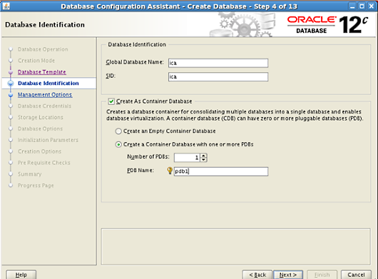 create oracle database