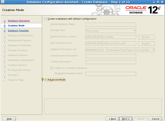 create oracle database using dbca